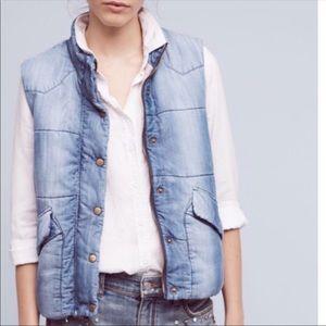 Cloth & Stone Anthropologie Chambry Denim Vest XL